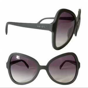 EUC PRADA Soft Pop Matte Gray Violet Purple Gradient Lens Triangle Sunglasses